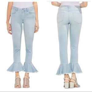VINCE CAMUTO WOMENS FLOUCE-HEM FLARED JEANS
